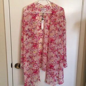 NWT sheer pink floral kimono